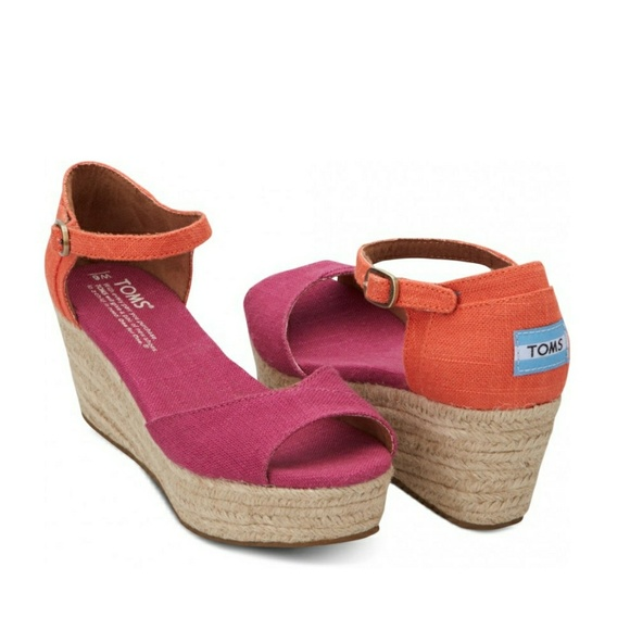 9fbc30d20 Toms Pink Mix Vegan Womens Platform Wedges